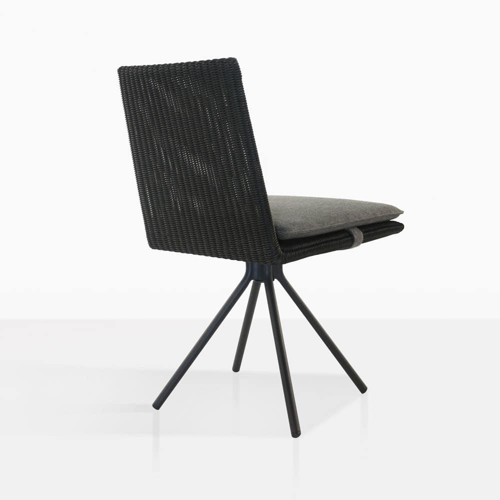 Loop Outdoor Swivel Black Dining Chair Charcoal Teak