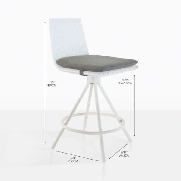 Sammie Swivel Wicker Outdoor Counter Stool White