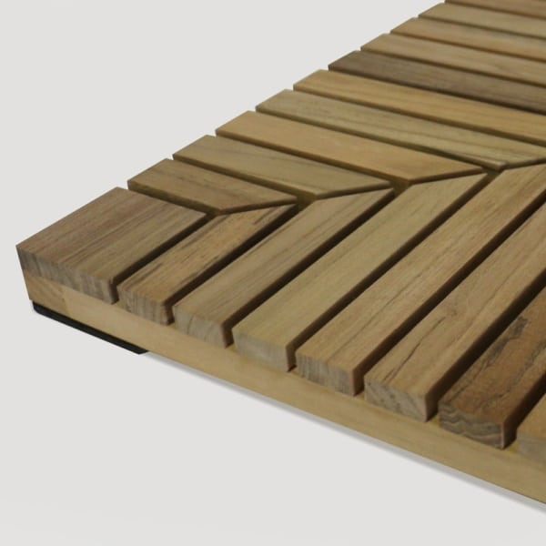 Teak Floor Tile With Rubber Foot Pad
