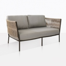 Tessa Rope Outdoor Loveseat With Grey Cushions