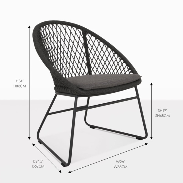 zaha dining wicker black outdoor chair