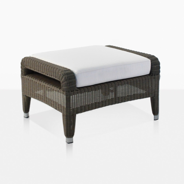 Aaron Wicker Outdoor Ottoman With Cushion
