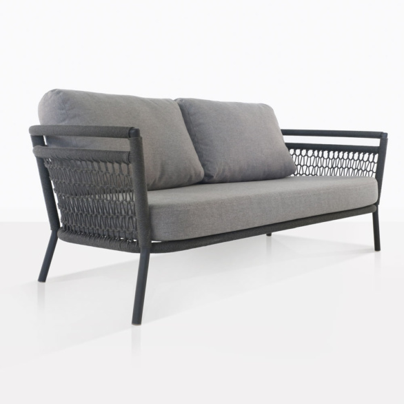 Usso Woven Rope Outdoor Sofa With Grey Cushions