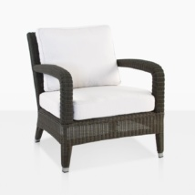 Aaron Wicker Garden Chair With White Cushions