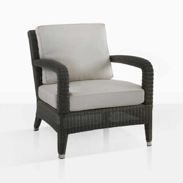 Aaron Wicker Relaxing Chair With Taupe Cushion