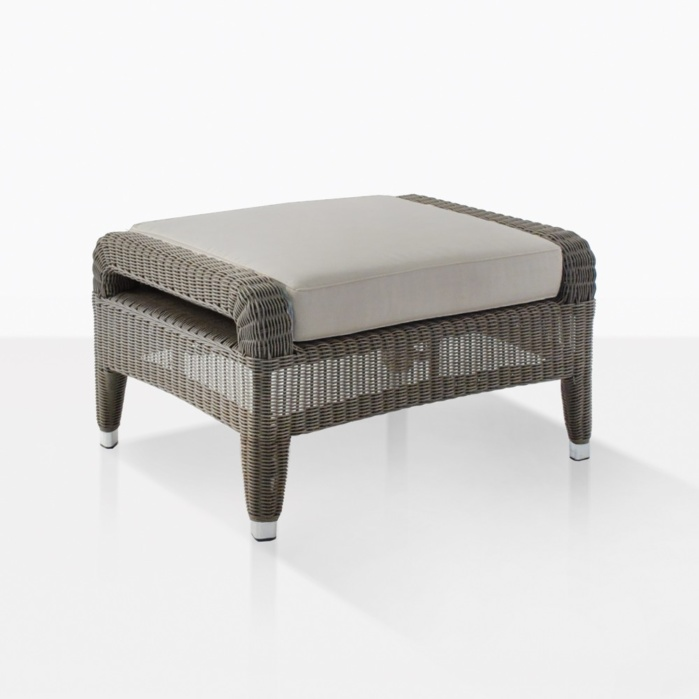 Aaron Outdoor Wicker Ottoman With Cushion