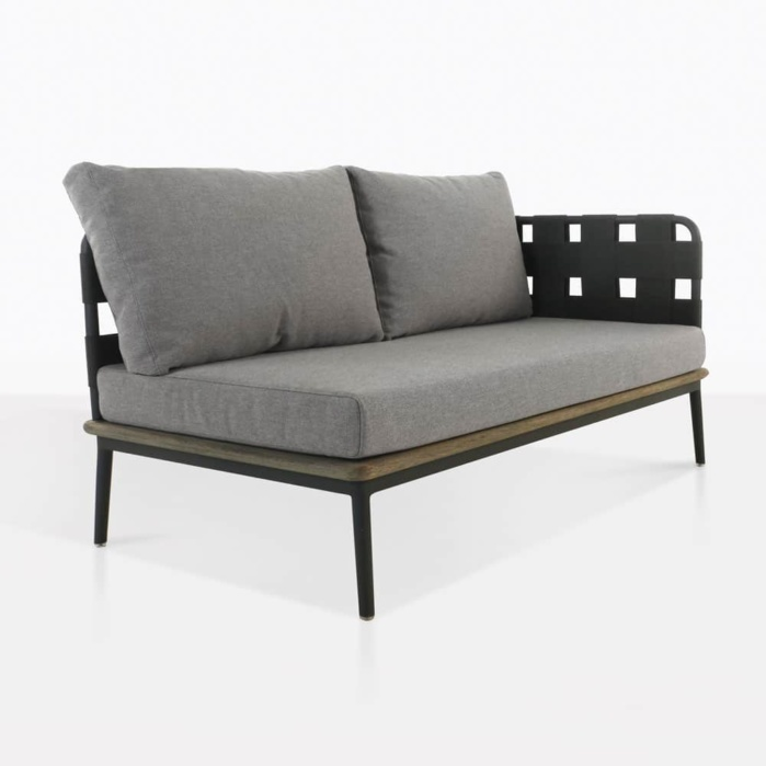 left arm space loveseat - angle view
