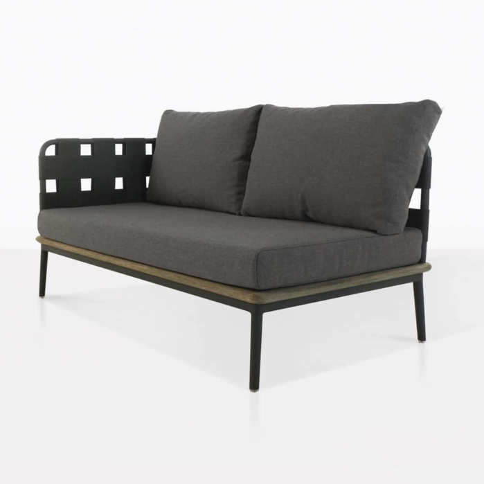 front angle - space loveseat - right arm