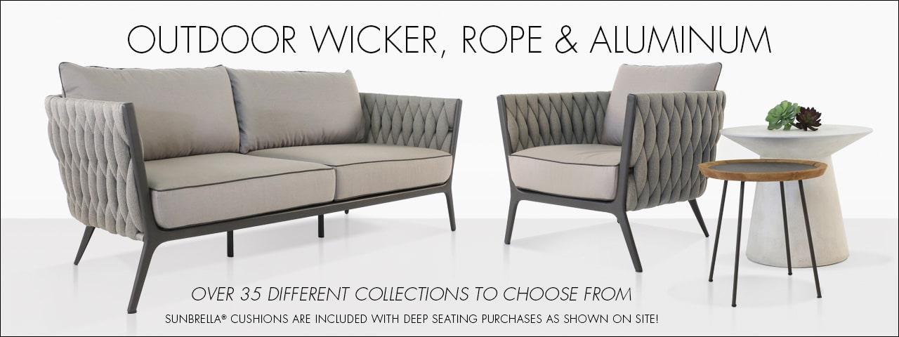 Outdoor wicker and teak patio furniture