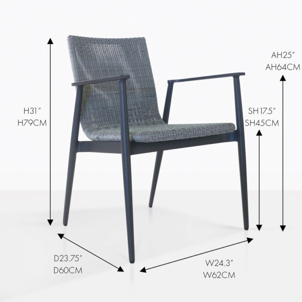 baltic woven wicker outdoor blue dining chair