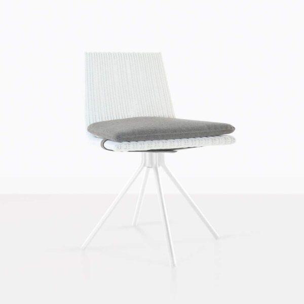Sammie White Wicker Swivel Dining Chair