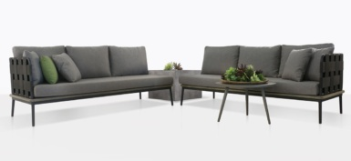 space outdoor furniture collection with coal color cushions