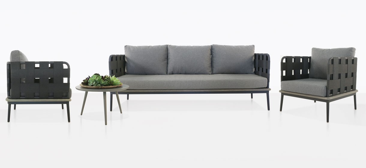 space outdoor furniture collection with fog color cushions