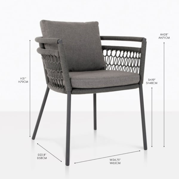usso arm dining chair coal