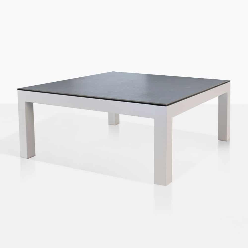 Granada Aluminum Coffee Table White Outdoor Furniture Teak