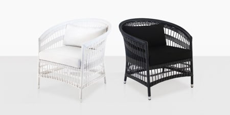 Black and White Outdoor Wicker Chairs