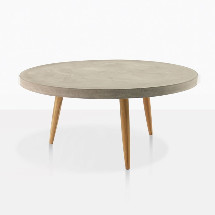 Aspen Large Concrete And Teak Coffee Table