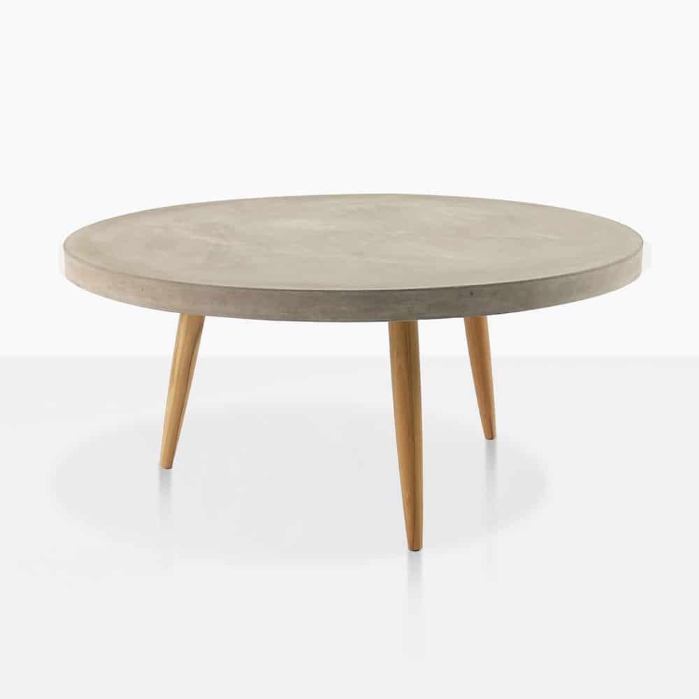 Aspen Blok Concrete Large Round Coffee Table Teak Warehouse