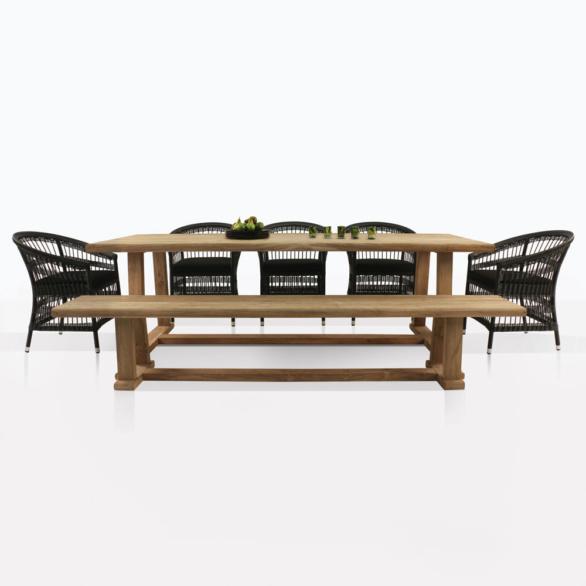 Joseph Teak Table And Sahara Wicker Chairs