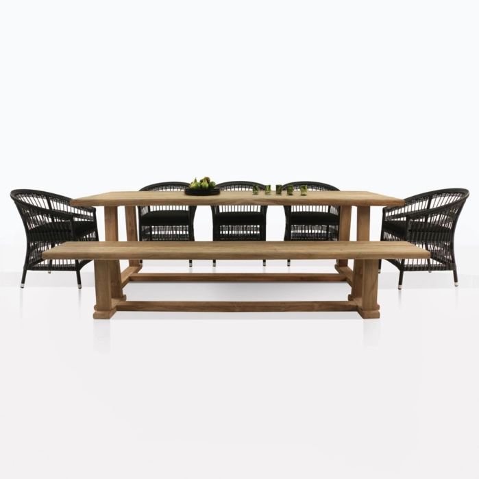 Joseph Teak Table And Sahara Wicker Chairs