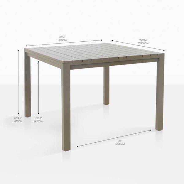 el fresco square grey dining table