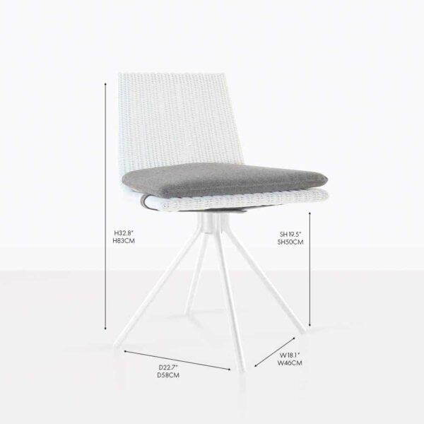 Sammie Swivel Wicker Outdoor Dining Chair White