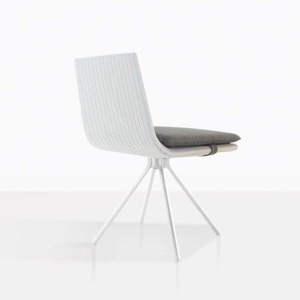 Sammie White Wicker Swivel Dining Chair Back