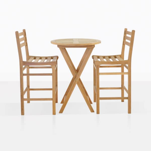 Teak Bar Set For Two - bar height table and chairs