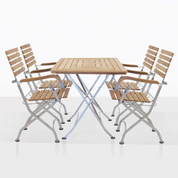 Teak And Steel Cafe Dining Set