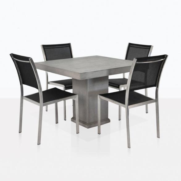 Concrete And Batyline Mesh Dining Set
