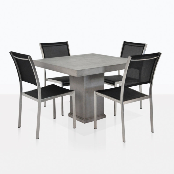 Concrete Pedestal Table Outdoor Dining Set Teak Warehouse - Concrete pedestal dining table