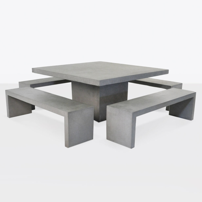 Square Concrete Table And 4 Bench Outdoor Dining Set Teak Warehouse