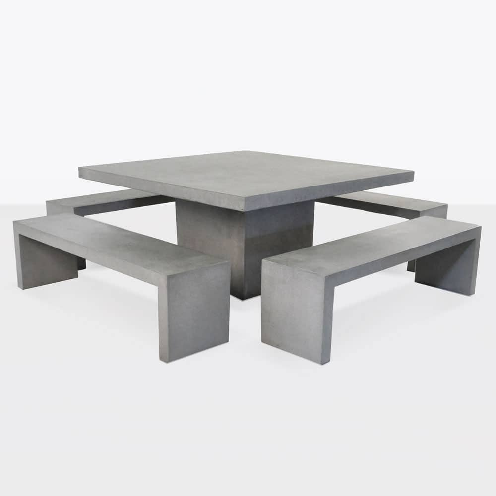 Modern Concrete Benches: Square Concrete Table And 4 Bench Outdoor Dining Set