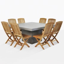 Concrete Table And Teak Dining Chairs