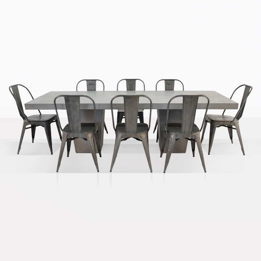 Concrete Dining Set | Concrete Table with 8 Alix Chairs