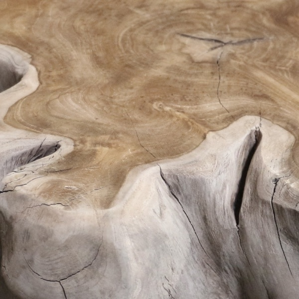 oro teak root accent table closeup view