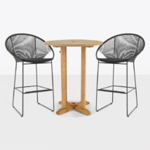Pietro And Teak Bar Set For 2 - bar height table and chairs