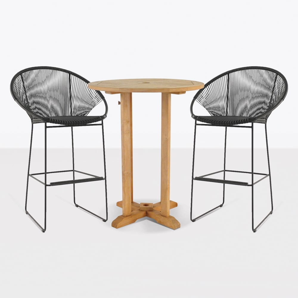 prima teak bar table with pietro wicker bar chair set