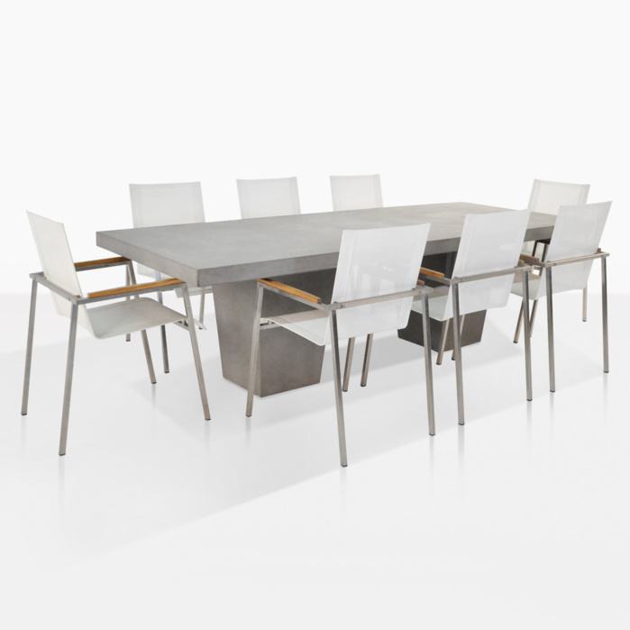 Concrete Steel And Mesh Dining Set