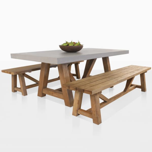 Concrete And Teak Trestle Dining Set