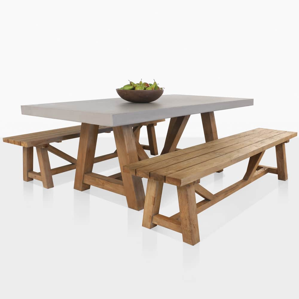 Raw Concrete Trestle Table And Teak Bench Dining Set