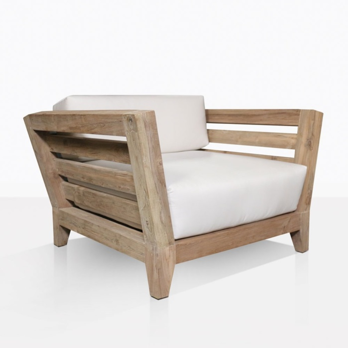 Adley Reclaimed Teak Club Chair With White Cushions