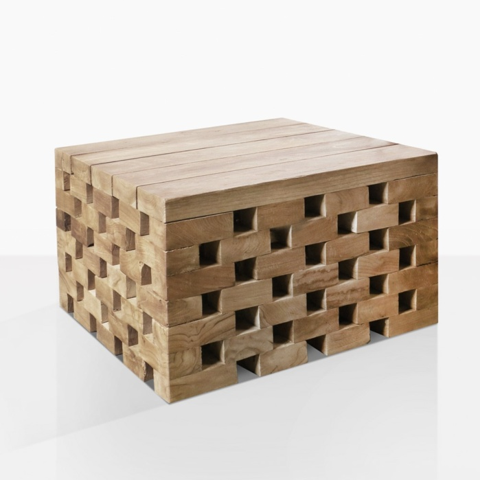 Crossword Teak Low Square Side Table
