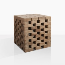Crossword Tall Teak Side Table