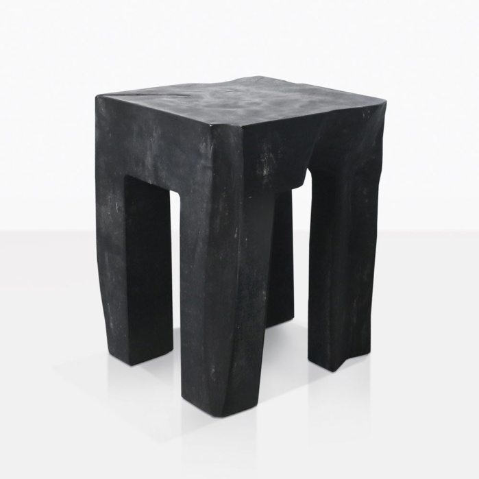 Banzi Carved Teak Side Table in Black