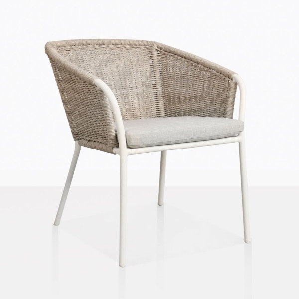 Becki Wicker And Aluminum Outdoor Dining Chair Closeup