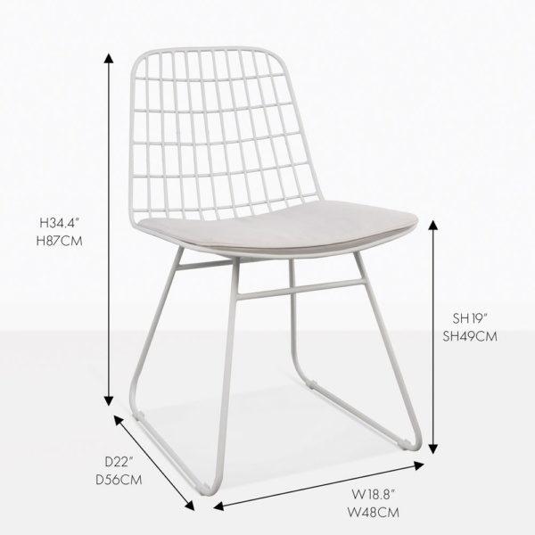 caloco white powder-coated aluminum dining chair