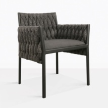 Calvino outdoor woven dining chair black angle