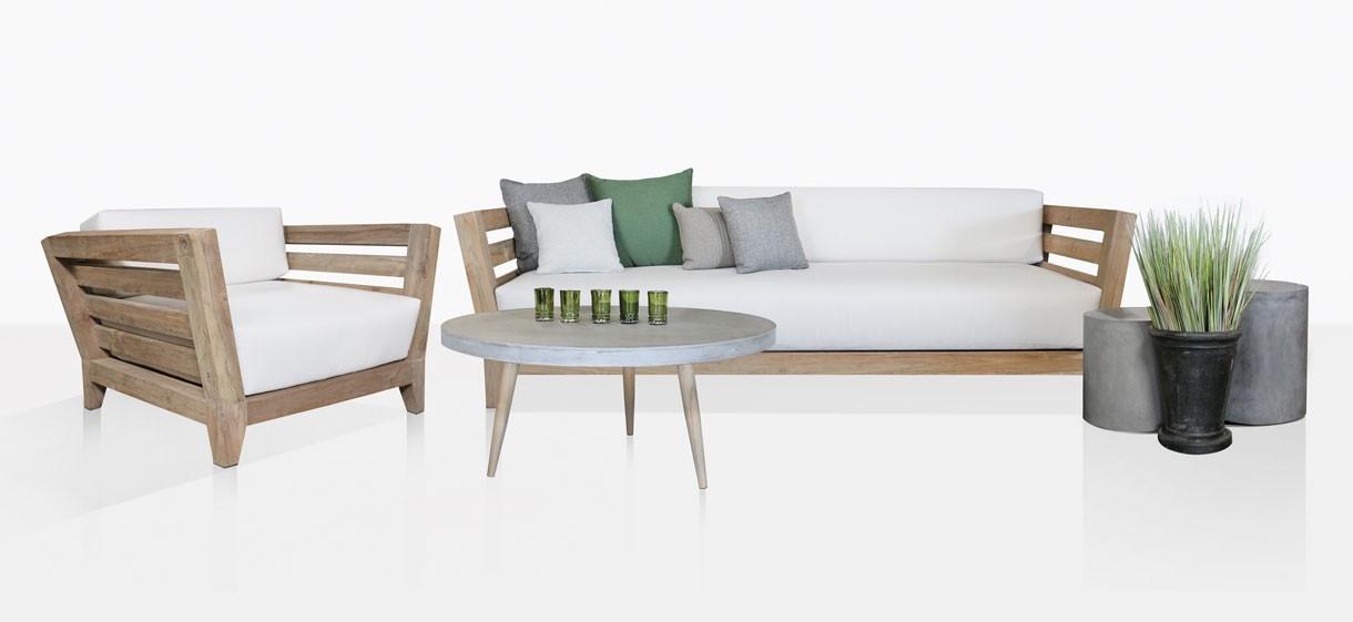 Adley Teak Sofa And Club Chair And Aspen Coffee Table