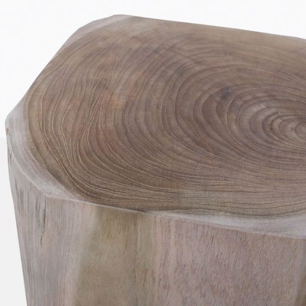 Banzi Carved Teak Side Table Closeup